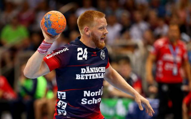 DUESSELDORF, GERMANY - AUGUST 21: Jim Gottfridsson of Flensburg-Handewitt controls the ball during the PIXUM Supercup 2019 at ISS Dome on August 21, 2019 in Duesseldorf, Germany. (Photo by Martin Rose/Bongarts/Getty Images)