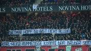 "NUREMBERG, GERMANY - MARCH 06: Supporters of Nuernberg hold up a sign that reads ""Dietmar Hopp du bist nicht allein, Karl-Heinz Rummenigge könnte dein Bruder sein."" (Dietmar Hopp you are not alone, Karl-Heinz Rummenigge could be your brother.) during the Second Bundesliga match between 1. FC Nürnberg and Hannover 96 at Max-Morlock-Stadion on March 06, 2020 in Nuremberg, Germany. (Photo by Sebastian Widmann/Bongarts/Getty Images)"