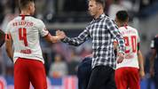 LEIPZIG, GERMANY - SEPTEMBER 14: Julian Nagelsmann head coach of RB Leipzig with Willi Orban of RB Leipzig after the Bundesliga match between RB Leipzig and FC Bayern Muenchen at Red Bull Arena on September 14, 2019 in Leipzig, Germany. (Photo by Maja Hitij/Bongarts/Getty Images)
