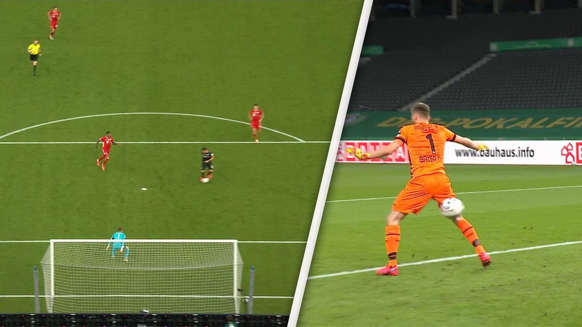 DFB-Pokalfinale zwischen Bayern und Leverkusen, knapp 60 Minuten gespielt. Kevin Volland vergibt eine Riesenchance kläglich. Und 110 Sekunden später leistet sich Lukas Hradecky auch noch einen krassen Bock.