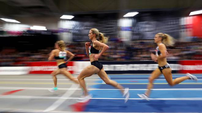 BOSTON, MASSACHUSETTS - JANUARY 25: Emma Coburn of the United States competes in the Women's 2 Mile during the New Balance Indoor Grand Prix at Reggie Lewis Center on January 25, 2020 in Boston, Massachusetts. (Photo by Maddie Meyer/Getty Images)