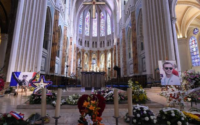 Portraits of late French racing driver Anthoine Hubert are displayed in Chartres' cathedral ahead of his funeral ceremony, on September 10, 2019. - The 22-year-old F2 driver was killed on August 31, 2019 in a crash on the Spa-Francorchamps circuit. (Photo by JEAN-FRANCOIS MONIER / AFP)        (Photo credit should read JEAN-FRANCOIS MONIER/AFP/Getty Images)