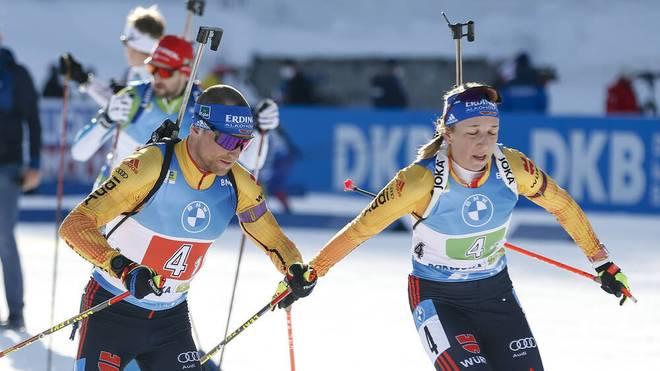 Erik Lesser (l.) und Franziska Preuß (r.) verpassten eine Medaille klar