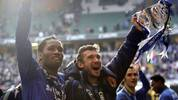 CARDIFF, UNITED KINGDOM - FEBRUARY 25:  Didier Drogba (L) and Andriy Shevchenko of Chelsea celebrate with the trophy following their team's victory at the end of the Carling Cup Final match between Chelsea and Arsenal at the Millennium Stadium on February 25, 2007 in Cardiff, Wales.  (Photo by Alex Livesey/Getty Images)