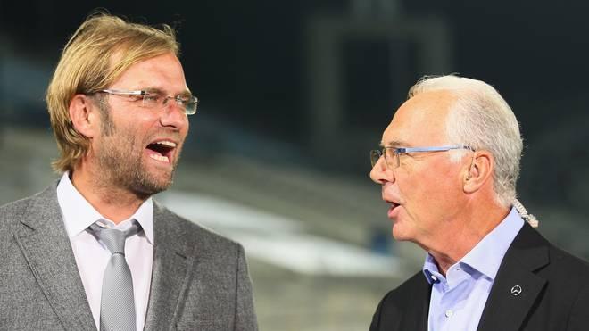 Franz Beckenbauer (r.) könnte sich Jürgen Klopp als Trainer des FC Bayern vorstellen