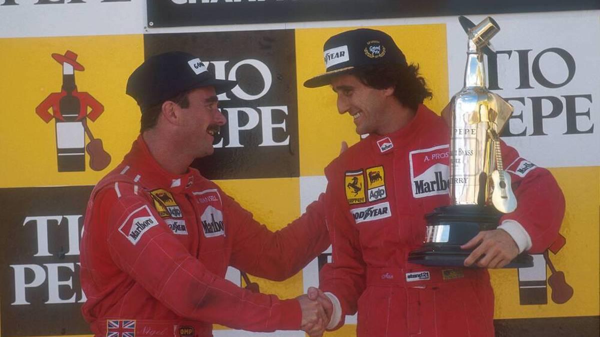 Glückwünsche fielen in der Beziehung zwischen Nigel Mansell (l.) und Alain Prost (r.) zumeist schwer