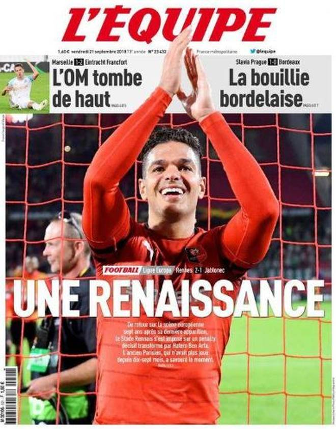 """Hatem Ben Arfa zierte am Freitagmorgen das Titelblatt von """"L'Equipe"""""""