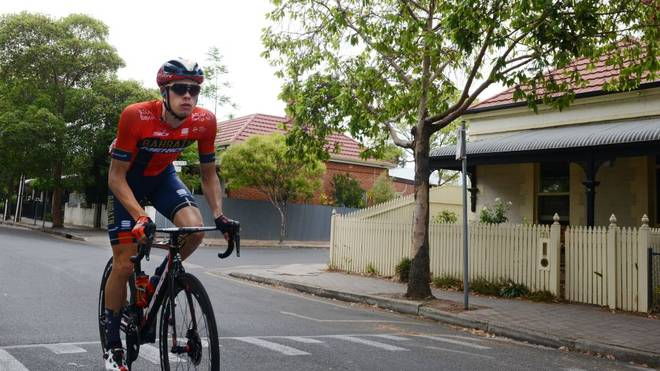 German rider Phil Bauhaus from the Bahrain-Merida team rides through the back streets of suburban Unlley prior to the start of stage four of the Tour Down Under cycling race in Adelaide on January 18, 2019. (Photo by Brenton EDWARDS / AFP) / -- IMAGE RESTRICTED TO EDITORIAL USE - STRICTLY NO COMMERCIAL USE --        (Photo credit should read BRENTON EDWARDS/AFP/Getty Images)