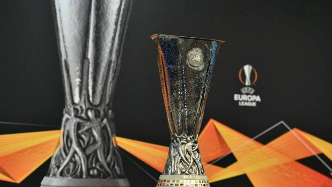 The UEFA Europa League football cup is displayed prior to the draw for the round of 32 of the UEFA Europa League football tournament at the UEFA headquarters in Nyon on December 17, 2018. (Photo by Fabrice COFFRINI / AFP)        (Photo credit should read FABRICE COFFRINI/AFP via Getty Images)