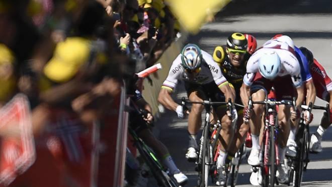 Peter Sagan kollidierte im Zielsprint einer Tour-Etappe 2017 mit Mark Cavendish