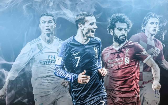 Ronaldo, Griezmann, Salah und Modric (v.l.) sind unter den Nominierten zum Weltfußballer 2018