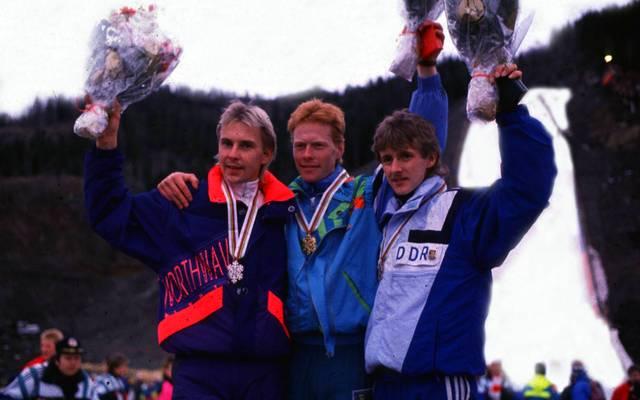 Jens Weißflog (r.) und Matti Nykänen (l., mit Dieter Thoma) zählen zu den besten Skispringern aller Zeiten