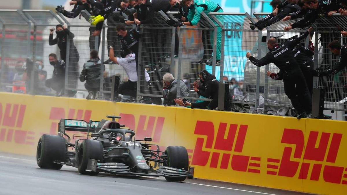 Mercedes' British driver Lewis Hamilton wins the Turkish Formula One Grand Prix at the Intercity Istanbul Park circuit in Istanbul on November 15, 2020. (Photo by TOLGA BOZOGLU / POOL / AFP) (Photo by TOLGA BOZOGLU/POOL/AFP via Getty Images)