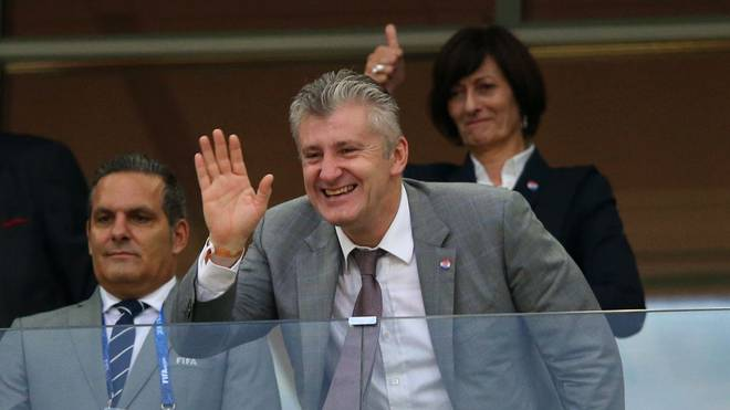 NIZHNY NOVGOROD, RUSSIA - JULY 01:  FIFA Legend Davor Suker waves to fans during the 2018 FIFA World Cup Russia Round of 16 match between Croatia and Denmark at Nizhny Novgorod Stadium on July 1, 2018 in Nizhny Novgorod, Russia.  (Photo by Alex Livesey/Getty Images)