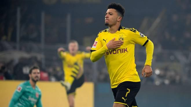Jadon Sancho bejubelt seinen Treffer gegen Eintracht Frankfurt