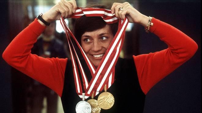 Rosi Mittermaier holte bei den Olympischen Spielen 1976 in Innsbruck drei Medaillen