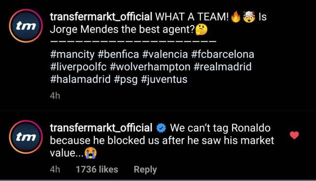 Transfermarkt gibt auf Instagram bekannt, dass Ronaldo den Kanal geblockt hat