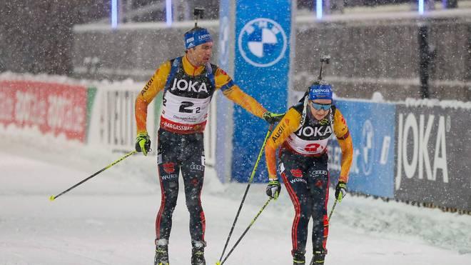 Simon Schempp und Franziska Preuß durften sich über Rang zwei freuen