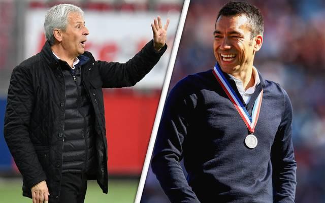 Lucien Favre (l.) soll dem BVB abgesagt haben, Giovanni van Bronckhorst gilt nun als Favorit
