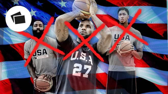 Basketball-WTeam USA fehlen bei der Basketball-WM unter anderem (v.r.) James Harden, LeBron James und Anthony DavisM: Diese Stars haben Team USA abgesagt