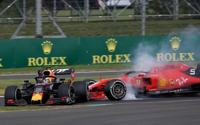 Im vergangenen Jahr verursachte Sebastian Vettel in Silverstone einen Unfall mit Max Verstappen