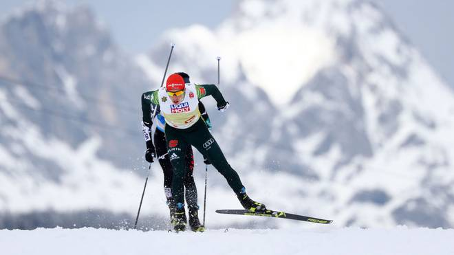 SEEFELD, AUSTRIA - MARCH 02: Eric Frenzel of Germany competes in the Cross-Country leg of the Nordic Combined HS109 Team competition during the FIS Nordic World Ski Championships on March 2, 2019 in Seefeld, Austria. (Photo by Lars Baron/Getty Images)