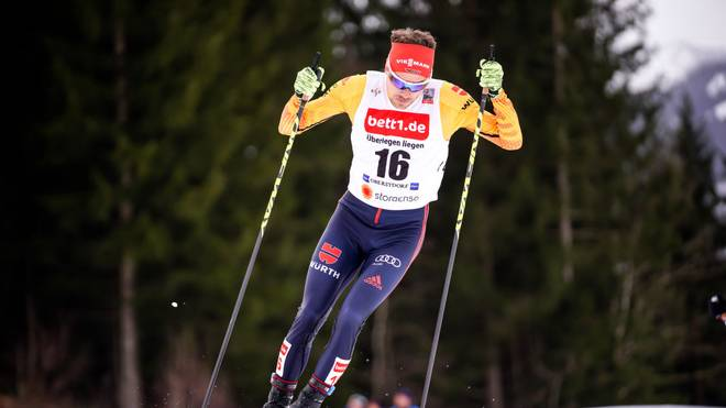 OBERSTDORF, GERMANY - JANUARY 26: Fabian Riessle of Germany in action during the FIS Nordic World Cup Nordic Combined HS140/10 km on January 26, 2020 in Oberstdorf, Germany. (Photo by Millo Moravski/Agence Zoom/Getty Images)