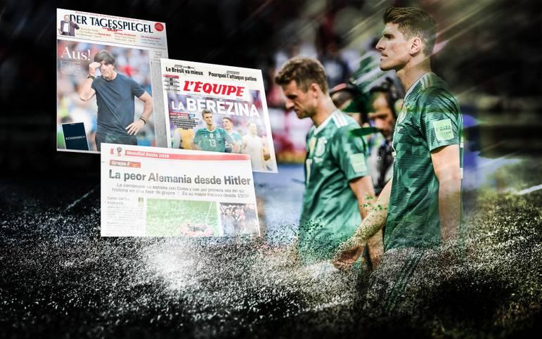 Deutschlands historische Pleite gegen Südkorea erschüttert die Welt des Fußballs. Die Medien gehen wenig überraschend mit den tief gefallenen Weltmeistern hart ins Gericht. Eine spanische Zeitung zieht einen skandalösen Vergleich. SPORT1 zeigt internationale Pressestimmen