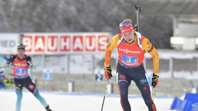 Benedikt Doll peilt mit der Staffel in Ruhpolding den ersten Sieg des Winters an
