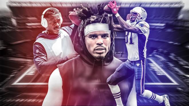 Cam Newton (M.) wechselt zu den Patriots. Manchmal lief es mit beschädigten Stars wie bei Randy Moss (r.) gut, manchmal nicht