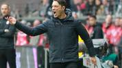 Bayern Munich's Croatian headcoach Niko Kovac reacts during the German first division Bundesliga football match between Eintracht Frankfurt and FC Bayern Munich on November 2, 2019 in Frankfurt am Main, western Germany. (Photo by Daniel ROLAND / AFP) / DFL REGULATIONS PROHIBIT ANY USE OF PHOTOGRAPHS AS IMAGE SEQUENCES AND/OR QUASI-VIDEO (Photo by DANIEL ROLAND/AFP via Getty Images)