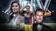 Gisele Bünchen, Antoine Griezmann und Brad Pitt (v.l.) sind NFL-Teams verbunden