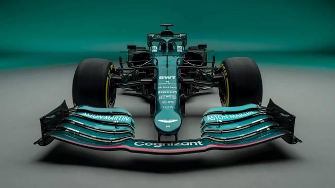 Auch von vorn schön anzuschauen: Der grüne Aston Martin AMR21, fortan Arbeitsgerät von Formel-1-Pilot Sebastian Vettel