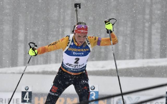 Denise Herrmann wurde in Kontiolahti Zweite