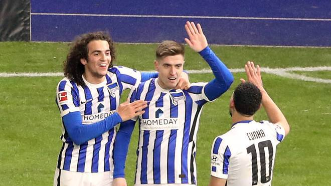 Matteo Guendouzi (l.), Krzysztof Piatek (M.) und Matheus Cunha wollen gegen Arminia Bielefeld den zweiten Sieg in Folge schaffen