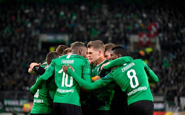 Moenchengladbach's Frech forward Marcus Thuram (2L) celebrates with teammates scoring during the UEFA Europa League Group J football match Borussia Moenchengladbach v Istanbul Basaksehir FK in Moenchengladbach, western Germany, on December 12, 2019. (Photo by INA FASSBENDER / AFP) (Photo by INA FASSBENDER/AFP via Getty Images)