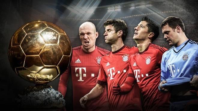 Aus dem Rennen um den Ballon d'Or: Arjen Robben, Thomas Müller, Robert Lewandowski und Manuel Neuer (v.l.)