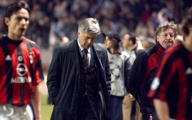 Carlo Ancelotti als Trainer des AC Milan, Champions League, FC Bayern München