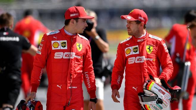 Formel 1: Ferrari-Pilot Charles Leclerc glaubt nicht an Vettel-Abschied, Sebastian Vettel (rechts) und Charles Leclerc bilden das Fahrer-Team bei Ferrari