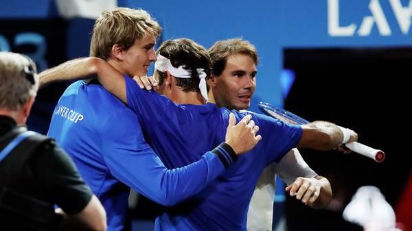 Alexander Zverev, Roger Federer und Rafael Nadal beim Laver Cup