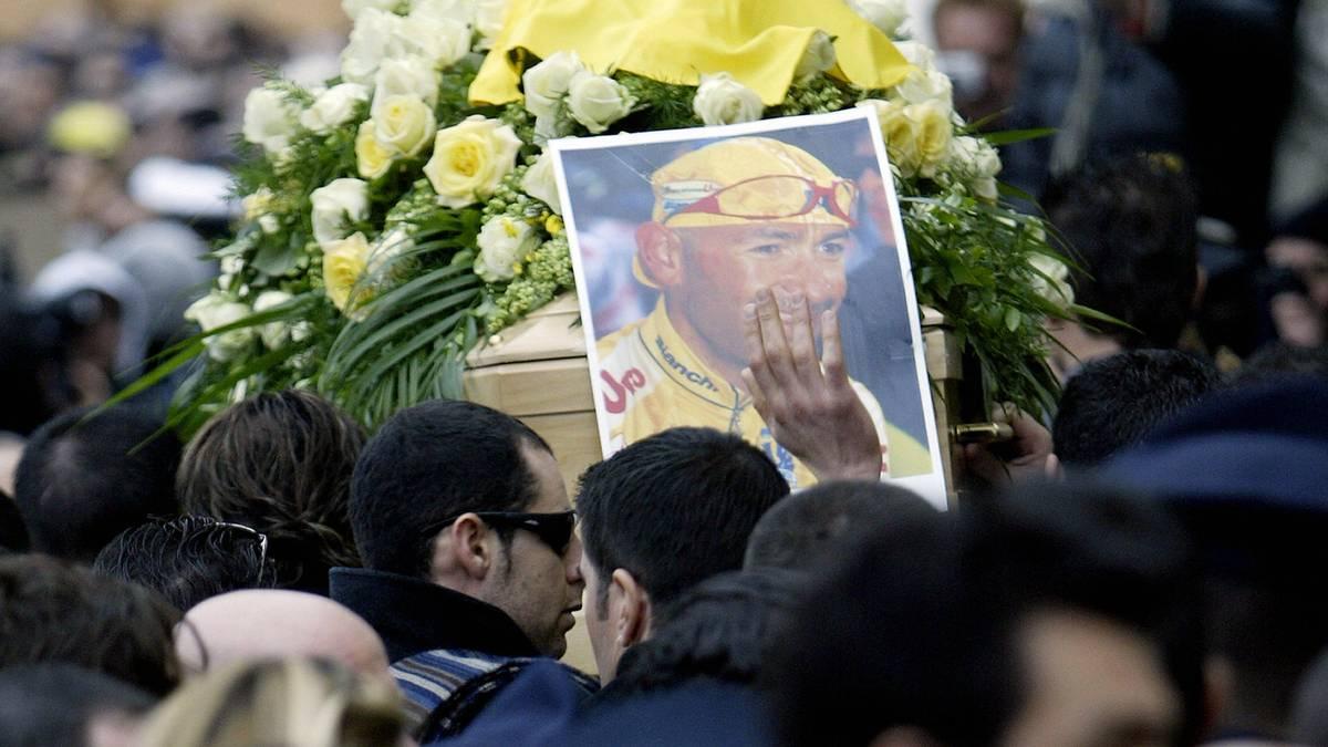 The coffin of Italian cycling champion Marco Pantani