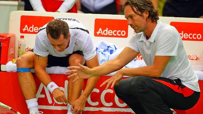 Zwischen Philipp Kohlschreiber (l.) und Carsten Arriens (r.) herrschte oft Stillstand