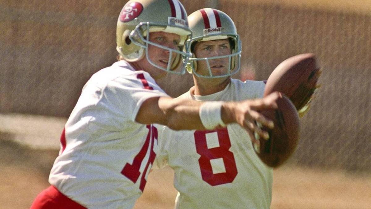 Joe Montana und Steve Young (r.) kämpften bei den San Francisco 49ers erbittert um den Stammplatz