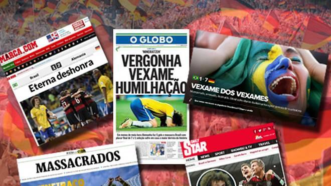 Internationale Medien schießen sich nach der 1:7-Pleite im WM-Halbfinale gegen Deutschland auf Brasilien ein. ZUM DURCHKLICKEN: Die Bilder des Halbfinal-Spiels
