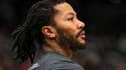 WASHINGTON, DC - JANUARY 20: Derrick Rose #25 of the Detroit Pistons looks on against the Washington Wizards during pregame at Capital One Arena on January 20, 2020 in Washington, DC. NOTE TO USER: User expressly acknowledges and agrees that, by downloading and or using this photograph, User is consenting to the terms and conditions of the Getty Images License Agreement. (Photo by Patrick Smith/Getty Images)