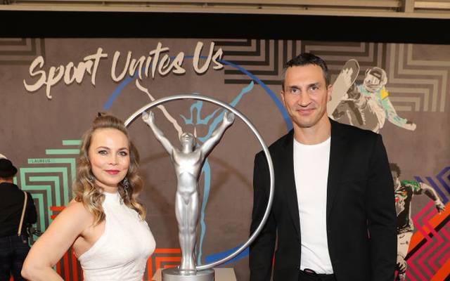 Regina Halmich und Wladimir Klitschko bei den Laureus Awards 2020