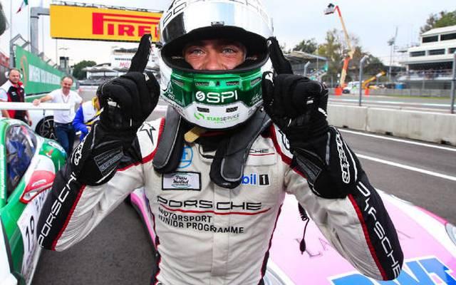 Julien Andlauer freut sich über seinen ersten Sieg im Porsche-Supercup
