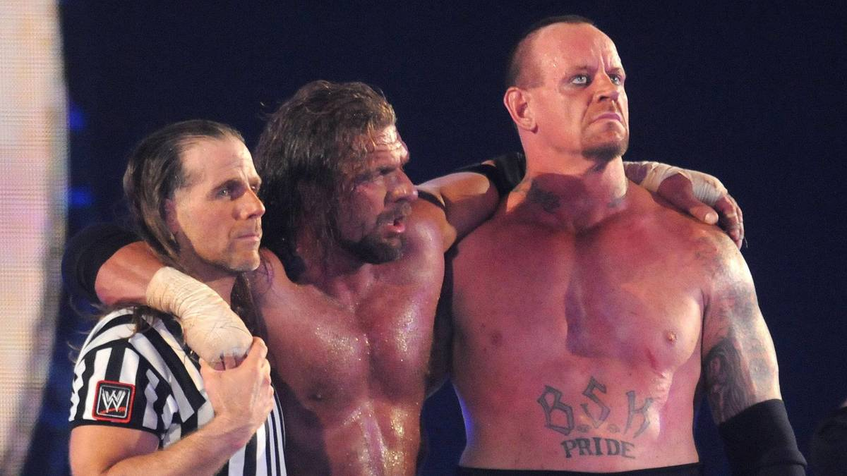 Drei Legenden, vier WrestleMania-Klassiker: Shawn Michaels, Triple H, der Undertaker (v.l.)