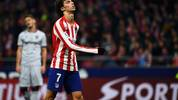 Atletico Madrid's Portuguese forward Joao Felix reacts to missing a goal opportunity during the Spanish league football match between Club Atletico de Madrid and Levante UD at the Wanda Metropolitano stadium in Madrid on January 4, 2020. (Photo by GABRIEL BOUYS / AFP) (Photo by GABRIEL BOUYS/AFP via Getty Images)