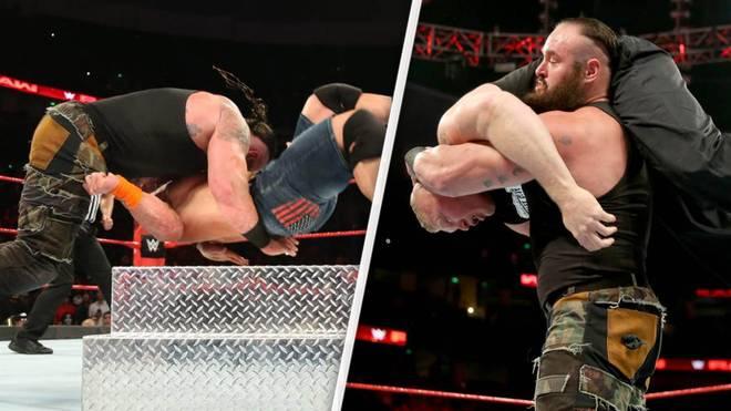 Braun Strowman dominierte bei WWE Monday Night RAW John Cena (l.) und Brock Lesnar